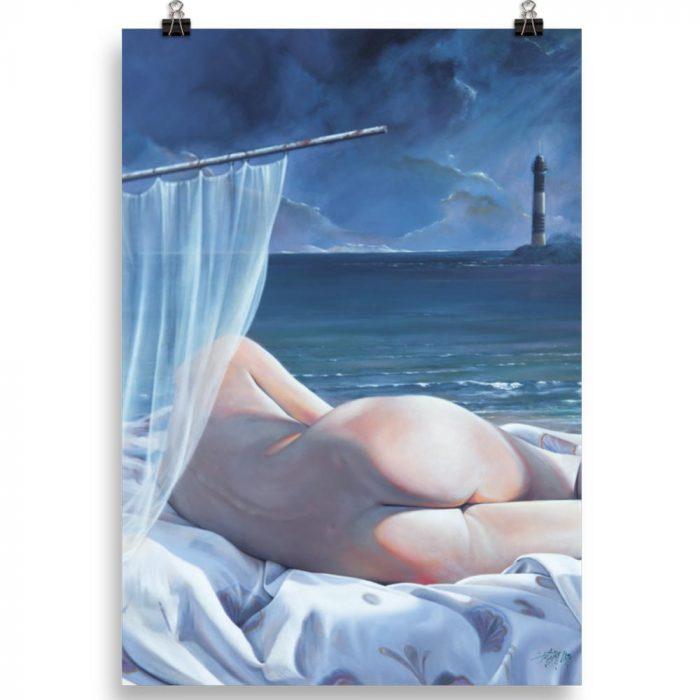 Reproducción de arte en lámina 100x70 cm - Momento de Descanso - Óleo - Paisaje con modelo - Realismo -pintado por Fernando Pagador