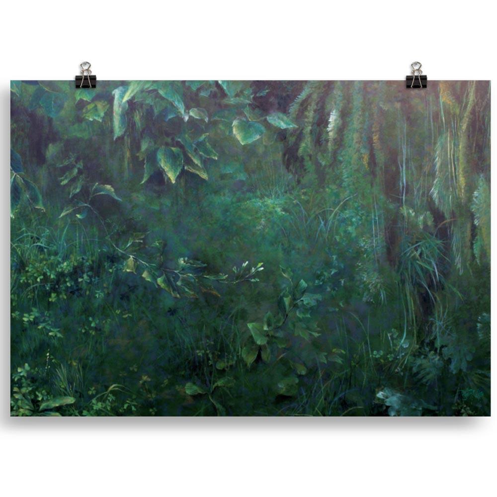 Reproducción de arte en lámina 100x70 cm - Clorofila Derecha - Técnica Mixta - Paisaje - Naturalismo -pintado por Fernando Pagador