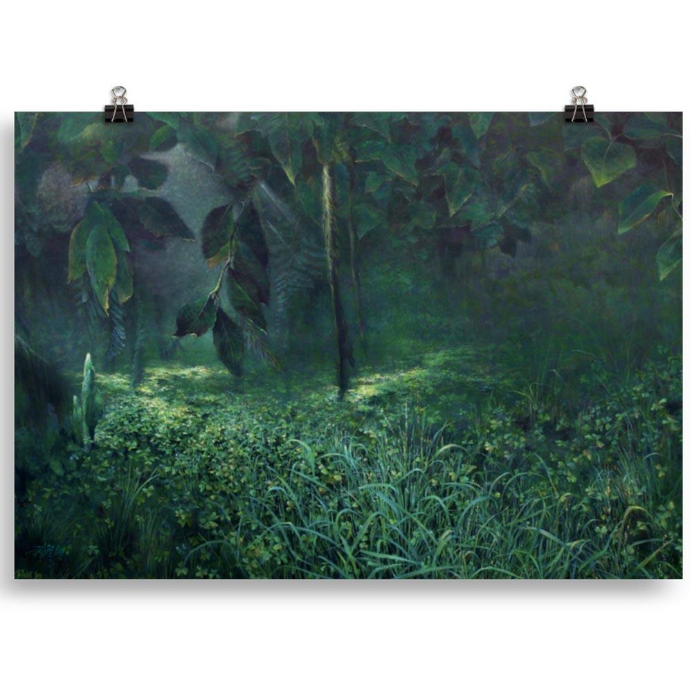 Reproducción de arte en lámina 100x70 cm - Clorofila Izquierda - Técnica Mixta - Paisaje - Naturalismo -pintado por Fernando Pagador
