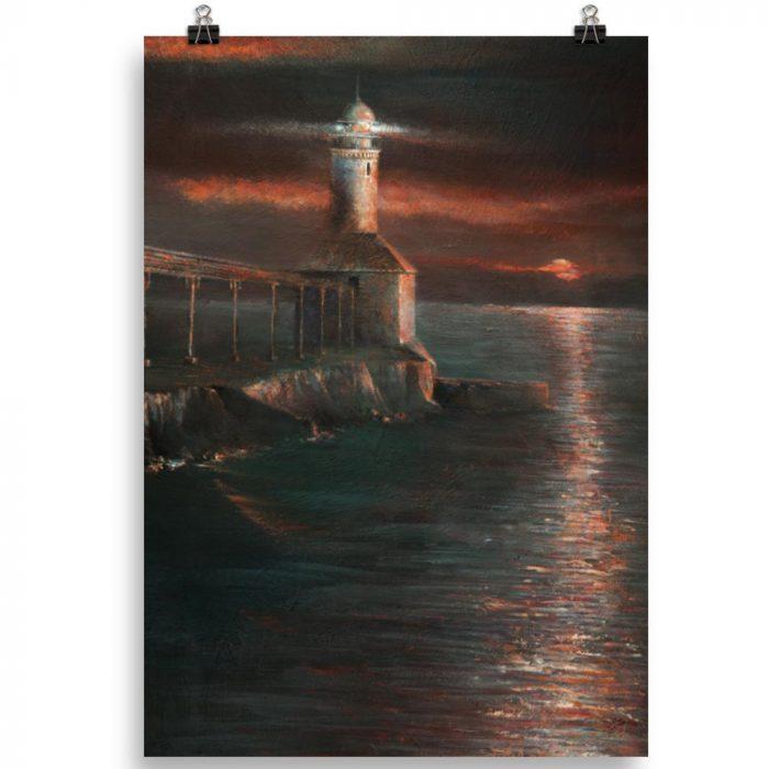 Reproducción de arte en lámina 100x70 cm - Matutino - Óleo - Paisaje costero - Impresionismo -pintado por Fernando Pagador