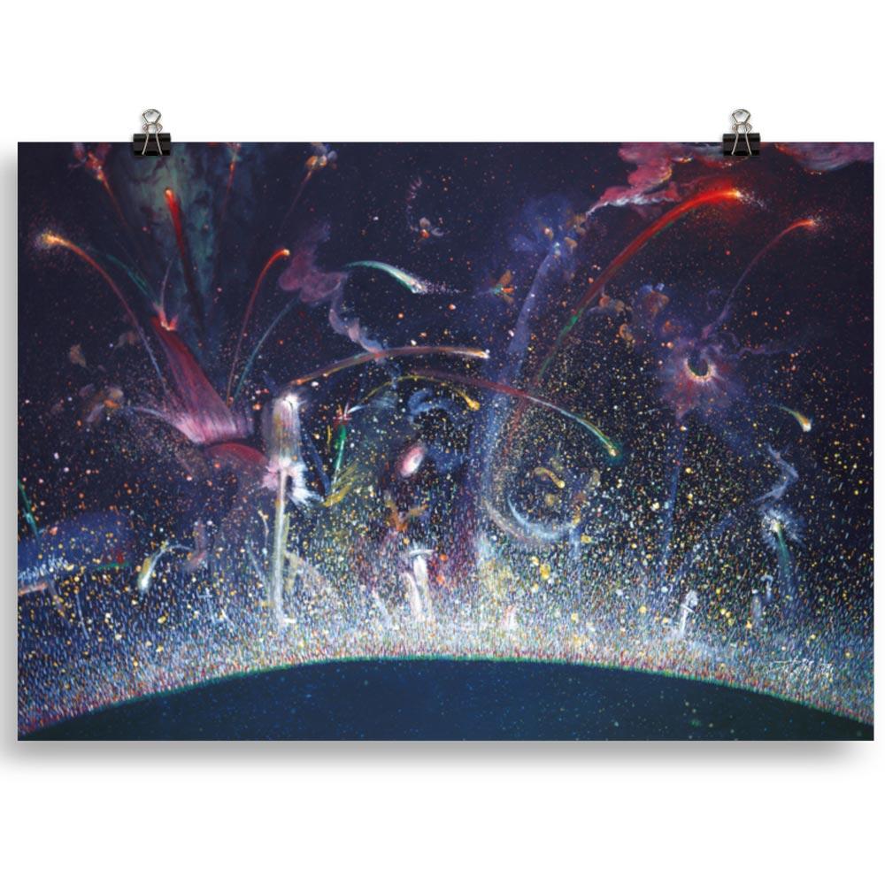 Reproducción de arte en lámina 70x100 cm - Apoteosis - Óleo - Ónirico - Puntillismo -pintado por Fernando Pagador