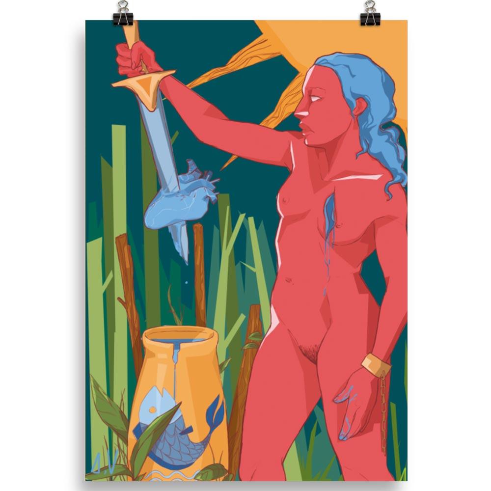 Reproducción de arte en lámina 70x100 cm - La Fuerza de Acuario - Diseño Digital - Zodiaco - Ilustración -pintado por Aida Valdayo