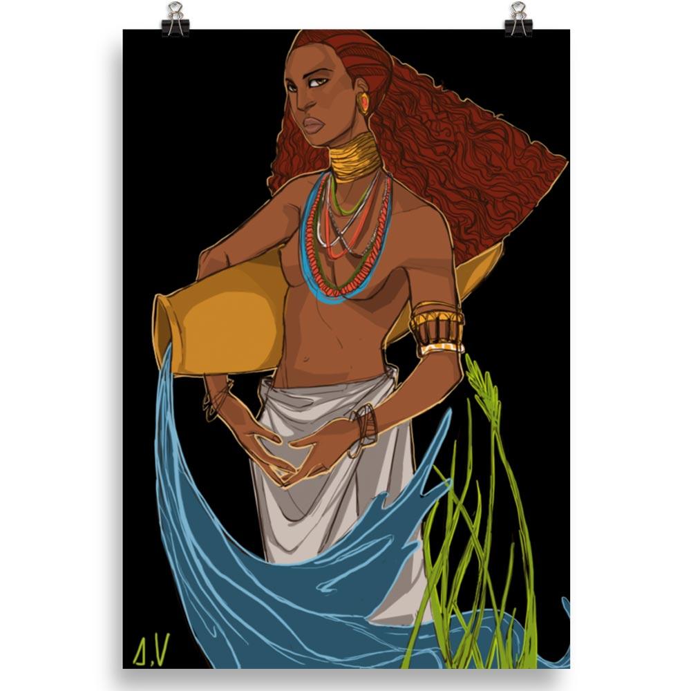 Reproducción de arte en lámina 70x100 cm - El Espiritu de Acuario - Diseño Digital - Zodiaco - Ilustración -pintado por Aida Valdayo