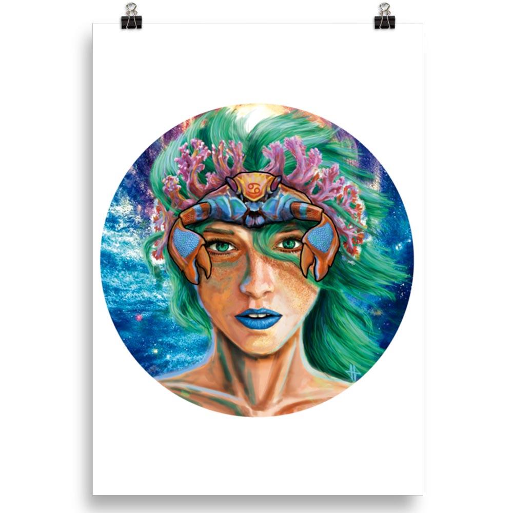 Reproducción de arte en lámina 70x100 cm - La Fortaleza de Cancer - Diseño Digital - Zodiaco - Ilustración -pintado por Adrian Pagador