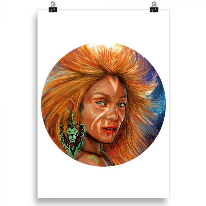 Reproducción de arte en lámina 70x100 cm - El Poder de Leo - Diseño Digital - Zodiaco - Ilustración -pintado por Adrian Pagador