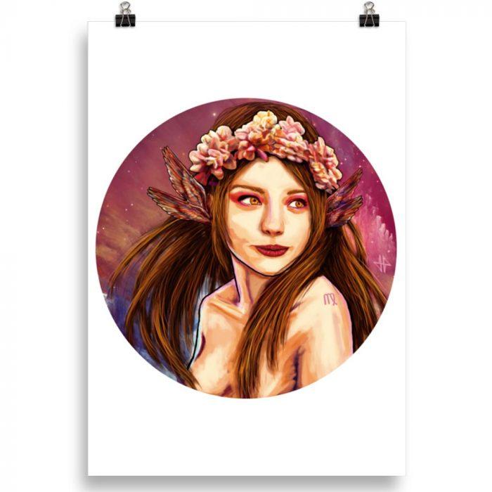 Reproducción de arte en lámina 100x70 cm - La Pureza de Virgo - Diseño Digital - Zodiaco - Ilustración -pintado por Adrian Pagador