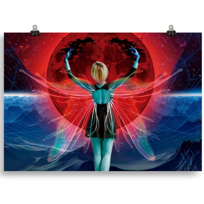 Reproducción de arte en lámina 70x100 cm - Retro RedMoon - Diseño Digital - Ilustración - Fotografía y Pintura -pintado por WachiMakeArt