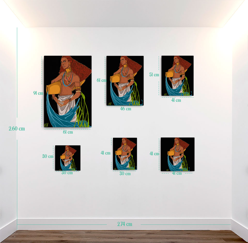 Reproducción de arte en lienzo - medidas - El Espiritu de Acuario - Diseño Digital - Zodiaco - Ilustración -pintado por Aida Valdayo