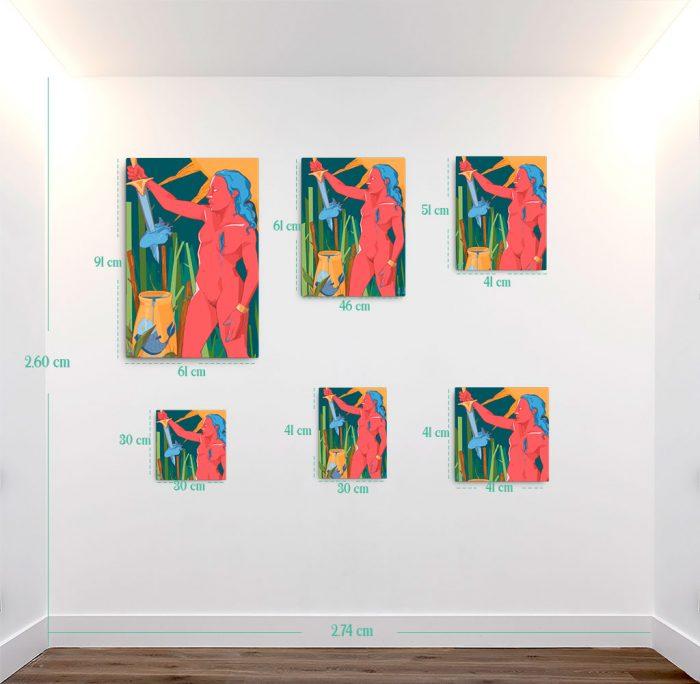 Reproducción de arte en lienzo - medidas - La Fuerza de Acuario - Diseño Digital - Zodiaco - Ilustración -pintado por Aida Valdayo