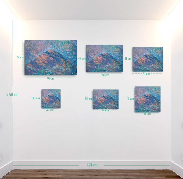 Reproducción de arte en lienzo - medidas - Alba en las Planas - Óleo - Paisaje - Puntillismo -pintado por Fernando Pagador
