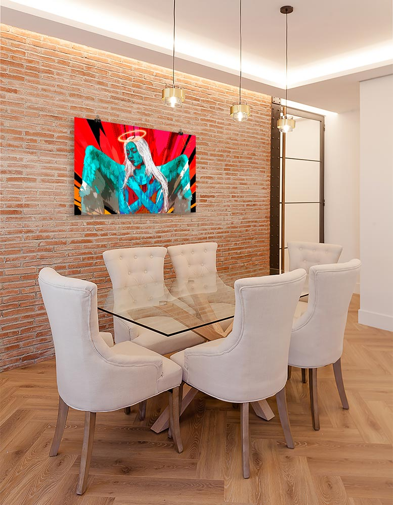 Reproducción de arte en lámina - comedor con pared de ladrillo - Angel Awakening - Diseño Digital - Ilustración - Fotografía y Pintura -pintado por WachiMakeArt