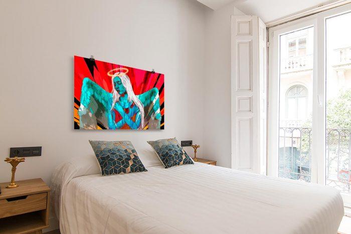 Reproducción de arte en lámina - dormitorio con balcón - Angel Awakening - Diseño Digital - Ilustración - Fotografía y Pintura -pintado por WachiMakeArt