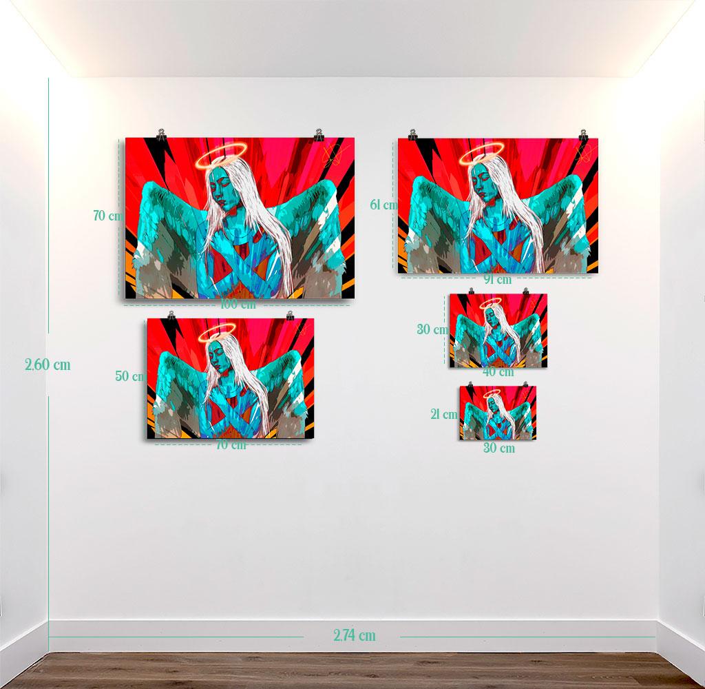 Reproducción de arte en lámina - medidas - Angel Awakening - Diseño Digital - Ilustración - Fotografía y Pintura -pintado por WachiMakeArt
