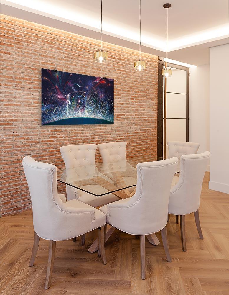Reproducción de arte en lámina - comedor con pared de ladrillo - Apoteosis - Óleo - Ónirico - Puntillismo -pintado por Fernando Pagador