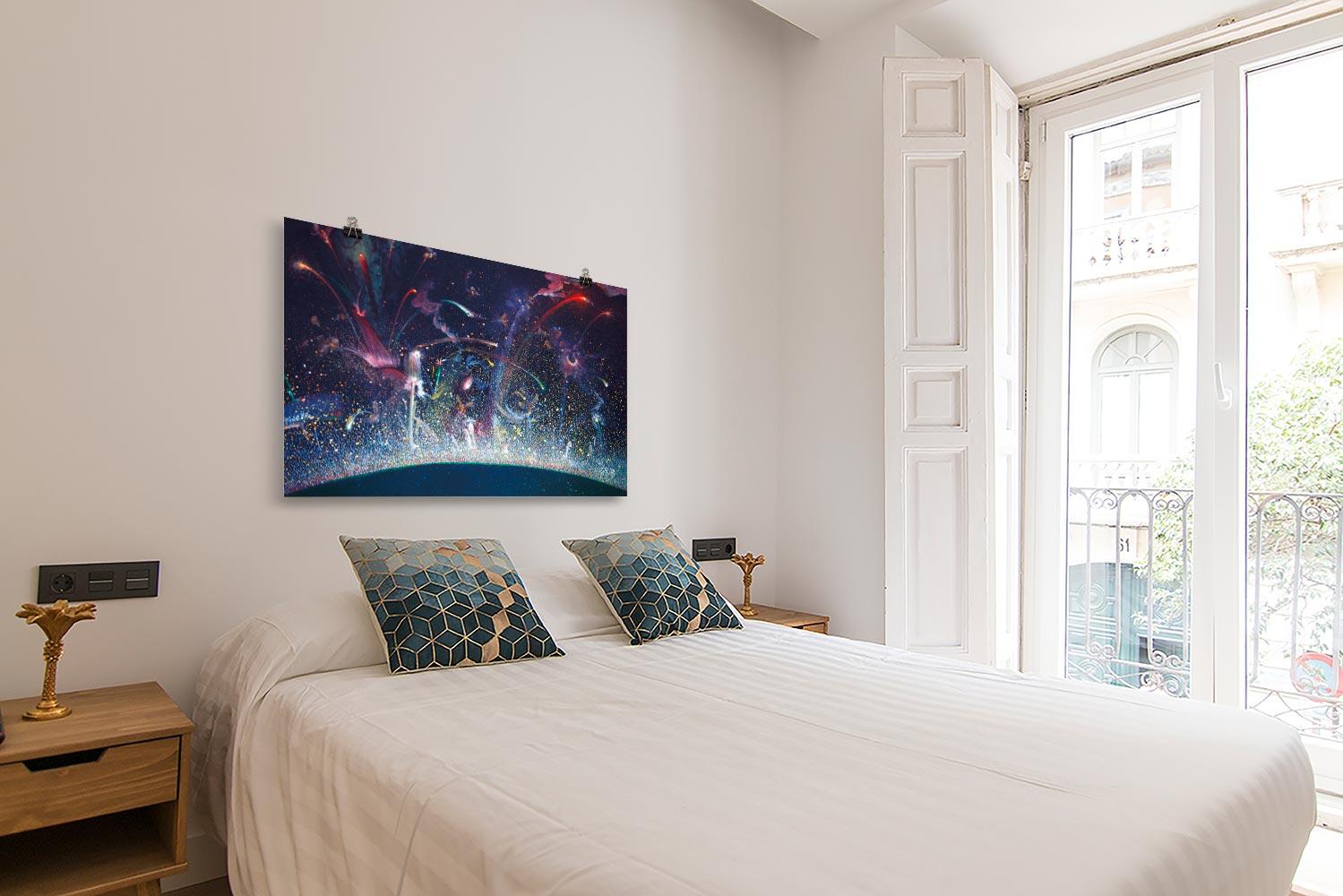 Reproducción de arte en lámina - dormitorio con balcón - Apoteosis - Óleo - Ónirico - Puntillismo -pintado por Fernando Pagador