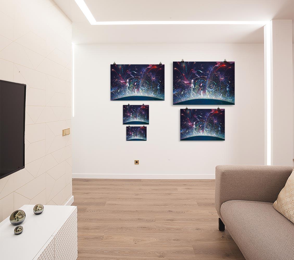 Reproducción de arte en lámina - salón - Apoteosis - Óleo - Ónirico - Puntillismo -pintado por Fernando Pagador