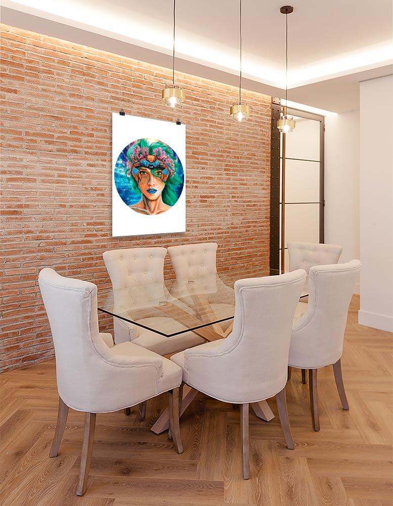 Reproducción de arte en lámina - comedor con pared de ladrillo - La Fortaleza de Cancer - Diseño Digital - Zodiaco - Ilustración -pintado por Adrian Pagador