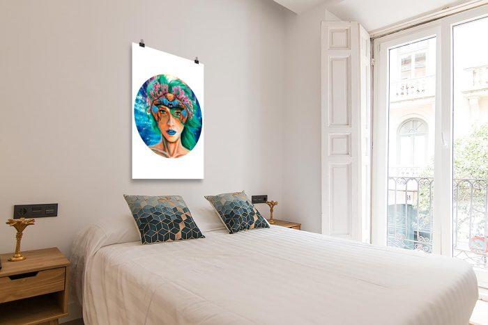 Reproducción de arte en lámina - dormitorio con balcón - La Fortaleza de Cancer - Diseño Digital - Zodiaco - Ilustración -pintado por Adrian Pagador