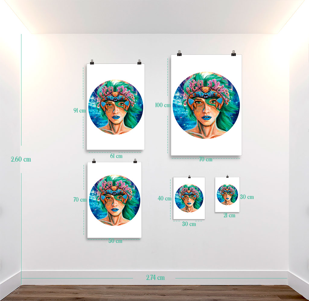 Reproducción de arte en lámina - medidas - La Fortaleza de Cancer - Diseño Digital - Zodiaco - Ilustración -pintado por Adrian Pagador