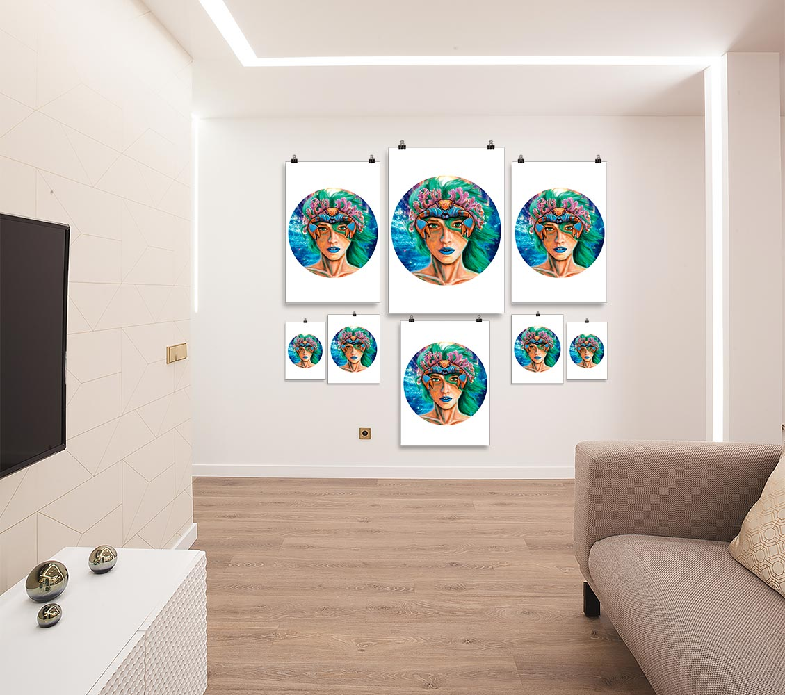 Reproducción de arte en lámina - salón - La Fortaleza de Cancer - Diseño Digital - Zodiaco - Ilustración -pintado por Adrian Pagador