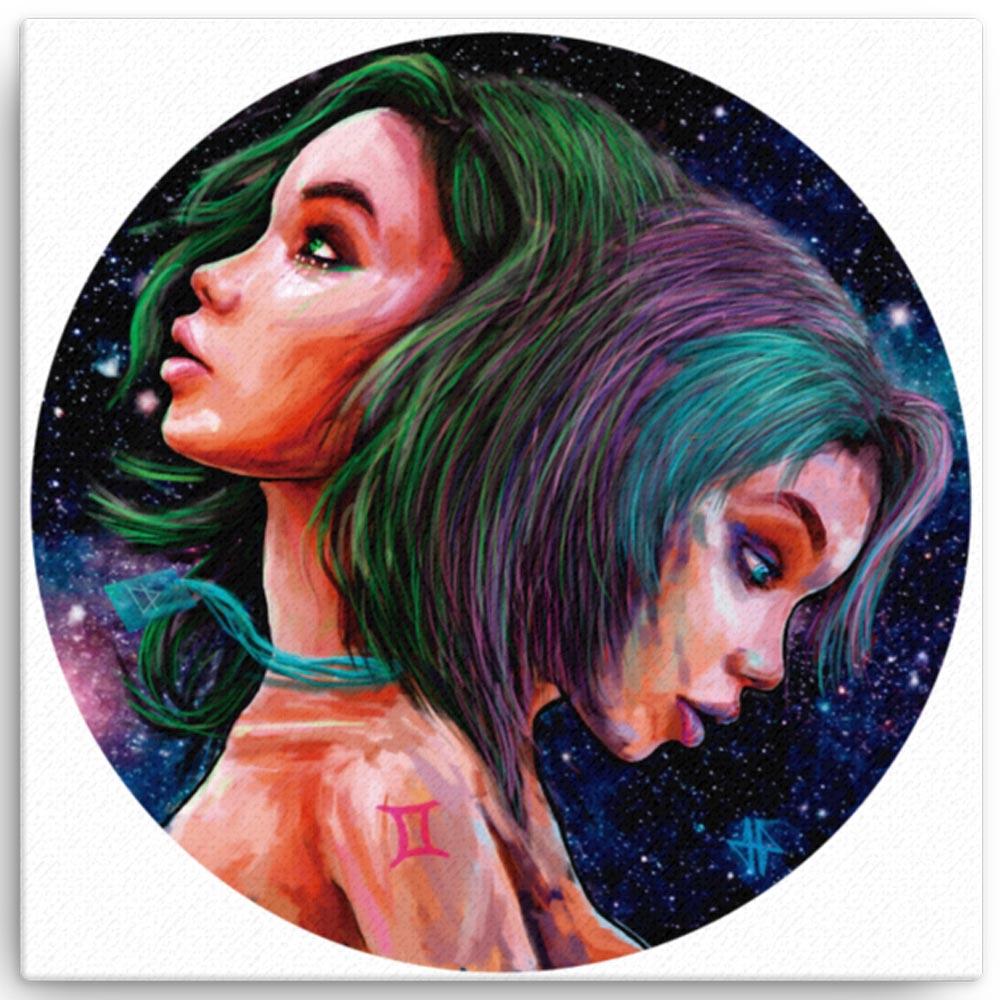 Reproducción de arte en lienzo 30x30 cm - Géminis - Diseño Digital - Zodiaco - Ilustración -pintado por Adrian Pagador