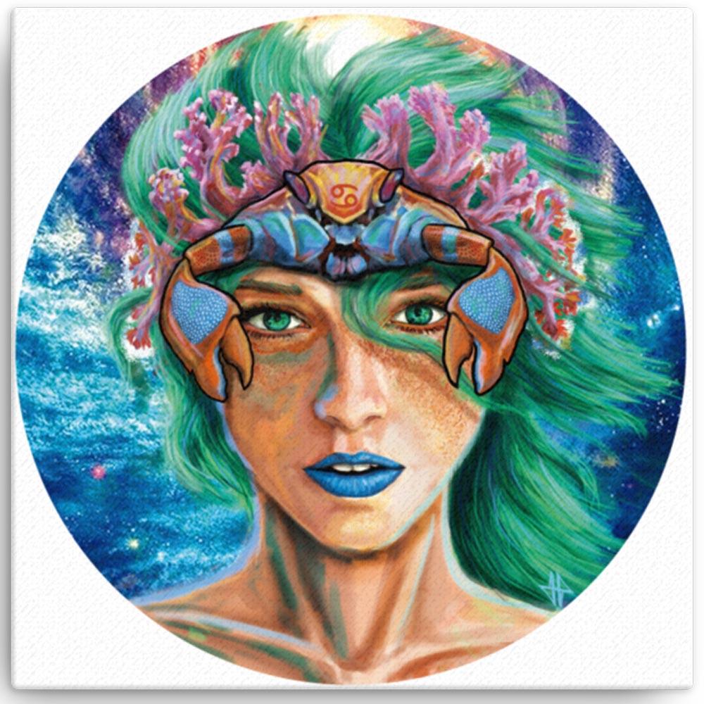 Reproducción de arte en lienzo 30x30 cm - La Fortaleza de Cancer - Diseño Digital - Zodiaco - Ilustración -pintado por Adrian Pagador