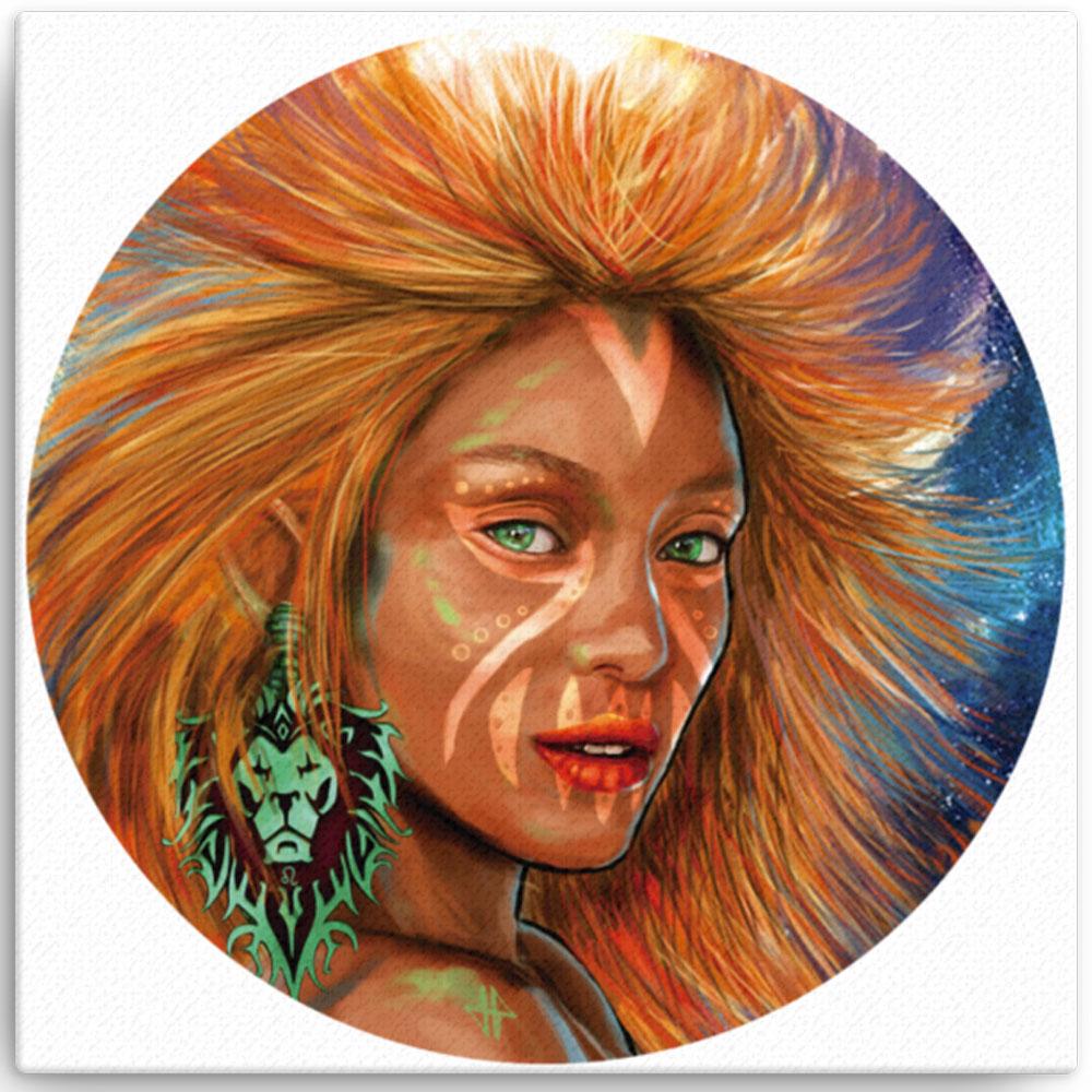 Reproducción de arte en lienzo 30x30 cm - El Poder de Leo - Diseño Digital - Zodiaco - Ilustración -pintado por Adrian Pagador