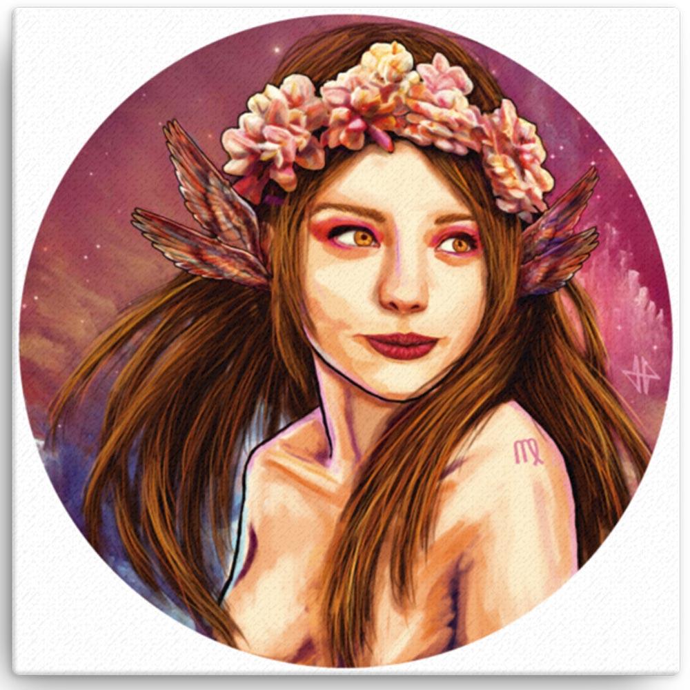 Reproducción de arte en lienzo 30x30 cm - La Pureza de Virgo - Diseño Digital - Zodiaco - Ilustración -pintado por Adrian Pagador