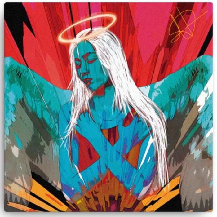 Reproducción de arte en lienzo 30x30 cm - Angel Awakening - Diseño Digital - Ilustración - Fotografía y Pintura -pintado por WachiMakeArt