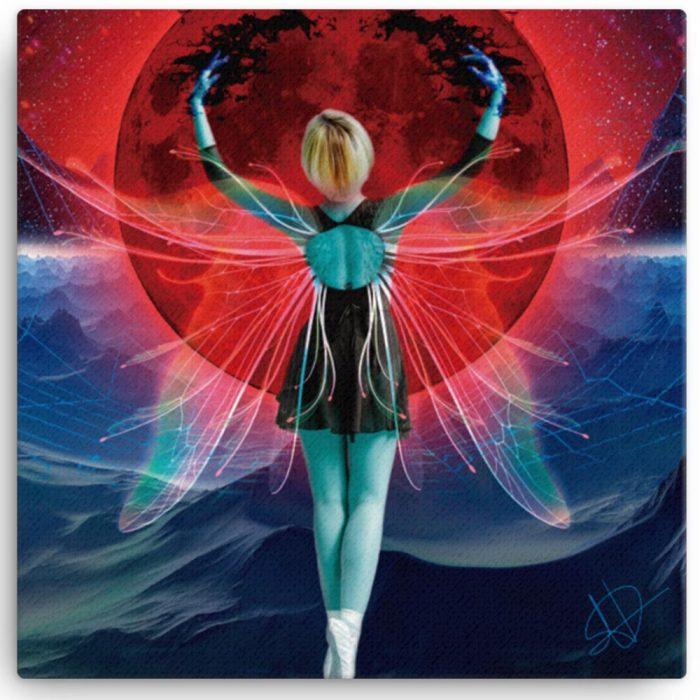Reproducción de arte en lienzo 30x30 cm - Retro RedMoon - Diseño Digital - Ilustración - Fotografía y Pintura -pintado por WachiMakeArt