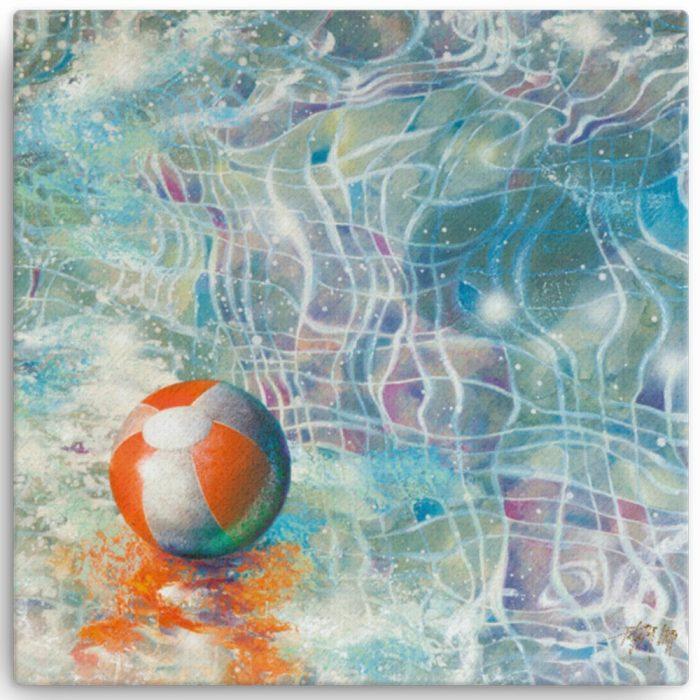 Reproducción de arte en lienzo 30x30 cm - Reflejos - técnica mixta - Surrealismo -pintado por Fernando Pagador