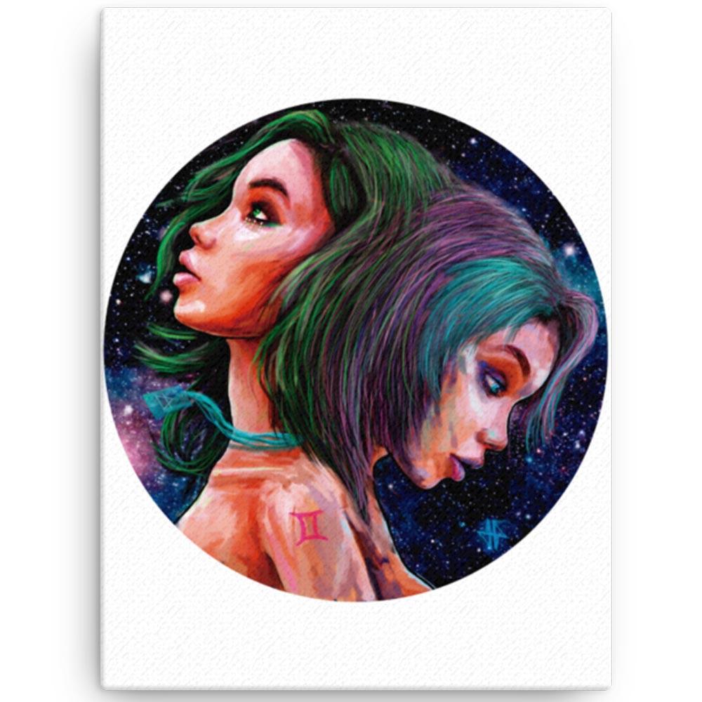 Reproducción de arte en lienzo 30x41 cm - Géminis - Diseño Digital - Zodiaco - Ilustración -pintado por Adrian Pagador
