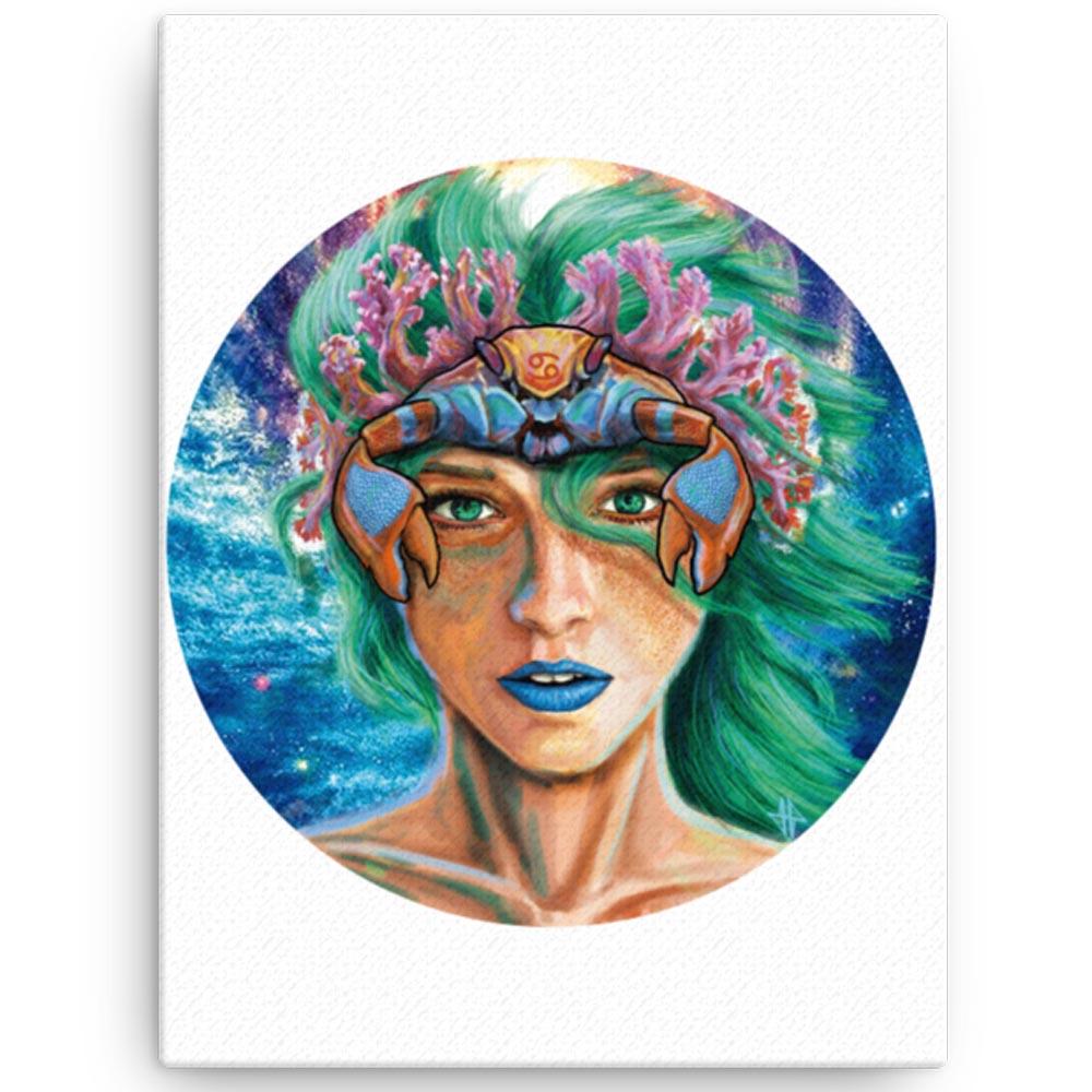 Reproducción de arte en lienzo 30x41 cm - La Fortaleza de Cancer - Diseño Digital - Zodiaco - Ilustración -pintado por Adrian Pagador