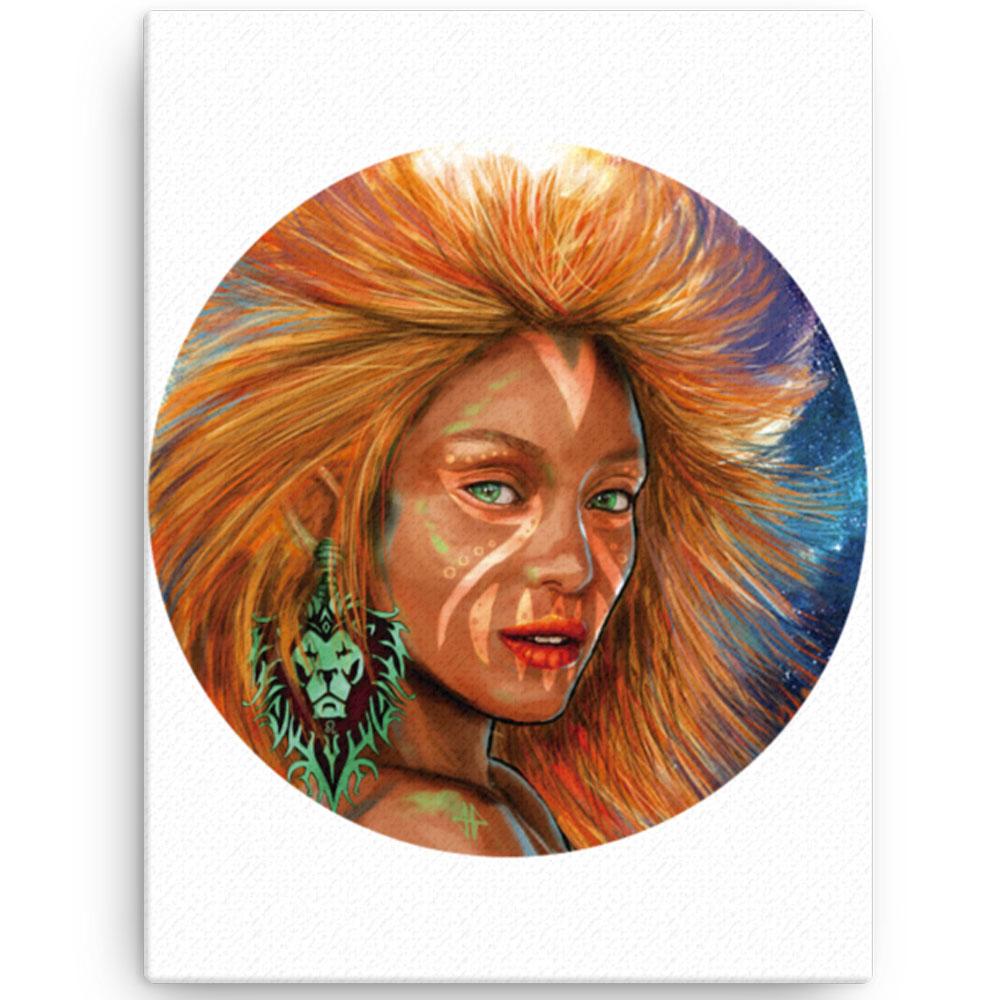 Reproducción de arte en lienzo 30x41 cm - El Poder de Leo - Diseño Digital - Zodiaco - Ilustración -pintado por Adrian Pagador