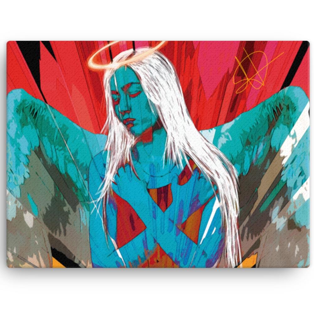 Reproducción de arte en lienzo 30x41 cm - Angel Awakening - Diseño Digital - Ilustración - Fotografía y Pintura -pintado por WachiMakeArt