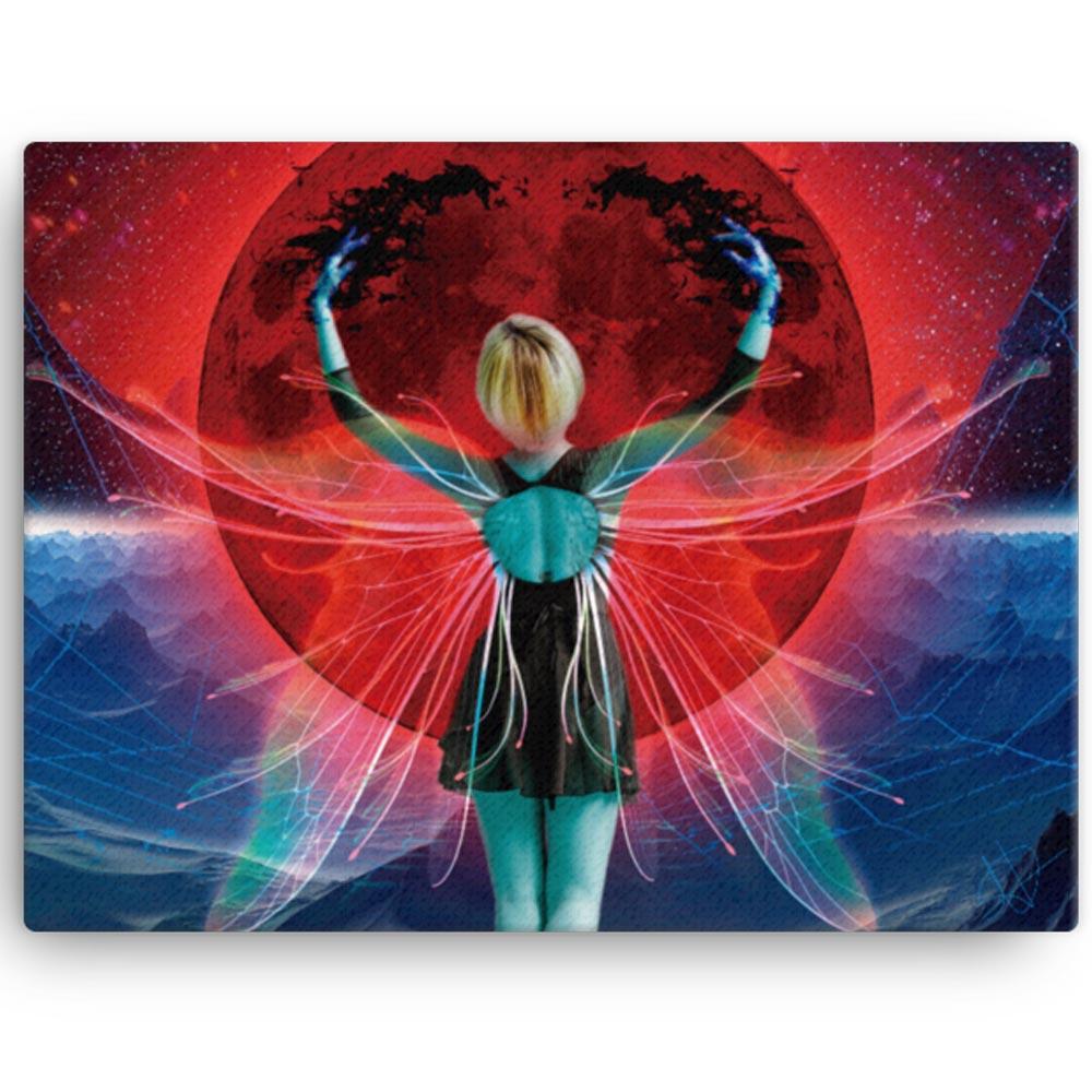 Reproducción de arte en lienzo 30x41 cm - Retro RedMoon - Diseño Digital - Ilustración - Fotografía y Pintura -pintado por WachiMakeArt