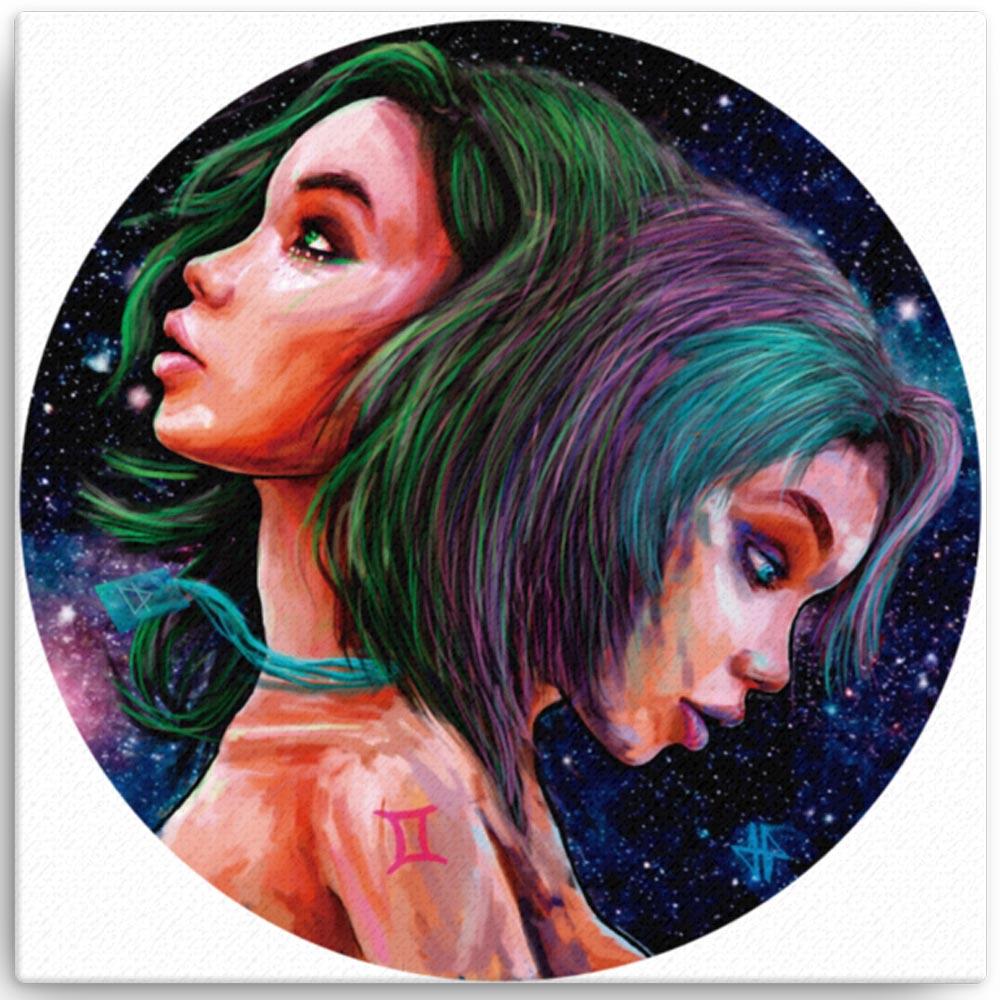 Reproducción de arte en lienzo 41x41 cm - Géminis - Diseño Digital - Zodiaco - Ilustración -pintado por Adrian Pagador