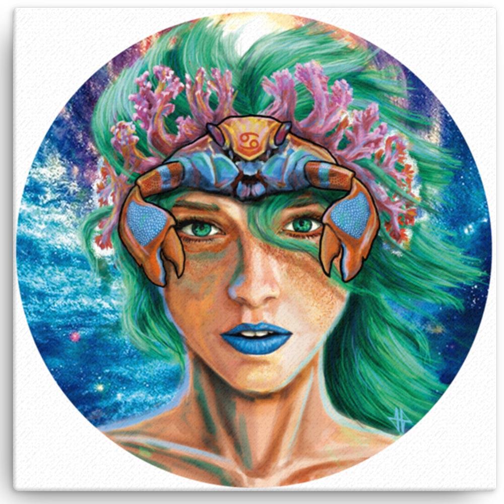 Reproducción de arte en lienzo 41x41 cm - La Fortaleza de Cancer - Diseño Digital - Zodiaco - Ilustración -pintado por Adrian Pagador