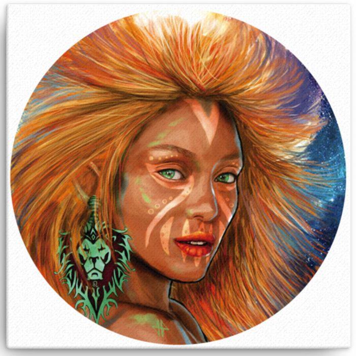 Reproducción de arte en lienzo 41x41 cm - El Poder de Leo - Diseño Digital - Zodiaco - Ilustración -pintado por Adrian Pagador