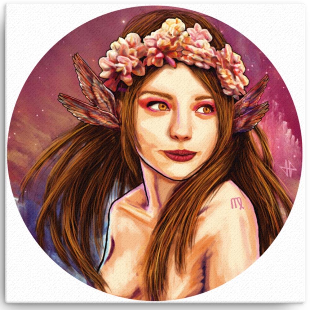 Reproducción de arte en lienzo 41x41 cm - La Pureza de Virgo - Diseño Digital - Zodiaco - Ilustración -pintado por Adrian Pagador