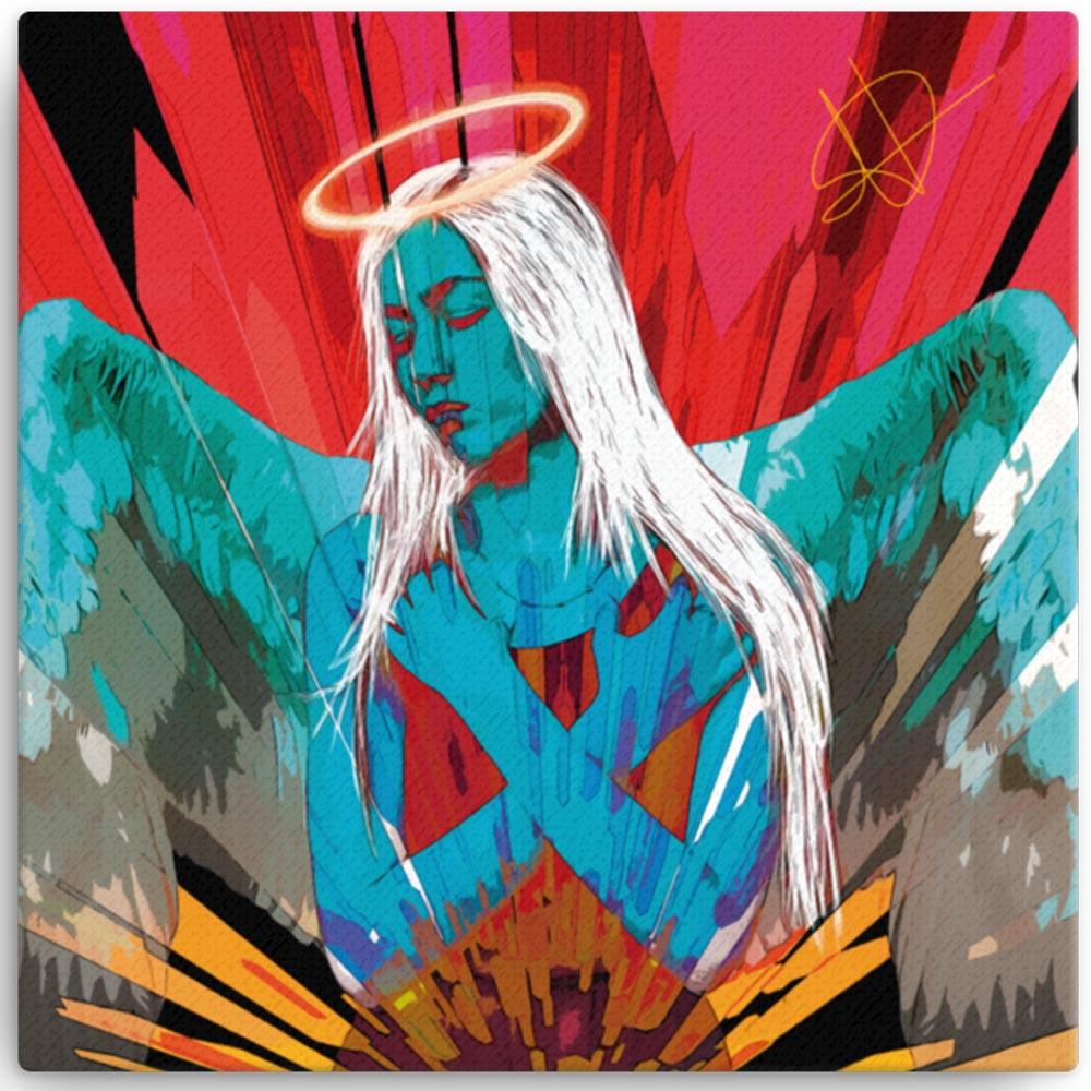 Reproducción de arte en lienzo 41x41 cm - Angel Awakening - Diseño Digital - Ilustración - Fotografía y Pintura -pintado por WachiMakeArt