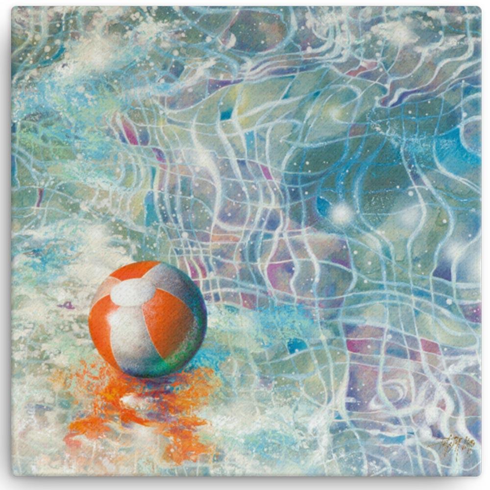 Reproducción de arte en lienzo 41x41 cm - Reflejos - técnica mixta - Surrealismo -pintado por Fernando Pagador
