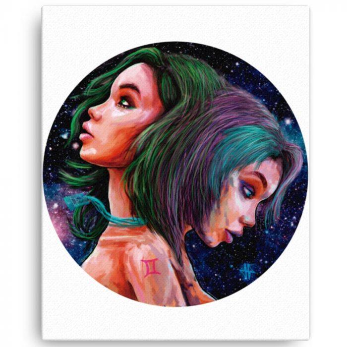 Reproducción de arte en lienzo 41x51 cm - Géminis - Diseño Digital - Zodiaco - Ilustración -pintado por Adrian Pagador