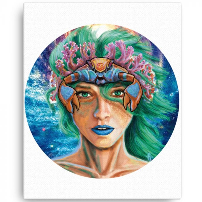 Reproducción de arte en lienzo 41x51 cm - La Fortaleza de Cancer - Diseño Digital - Zodiaco - Ilustración -pintado por Adrian Pagador
