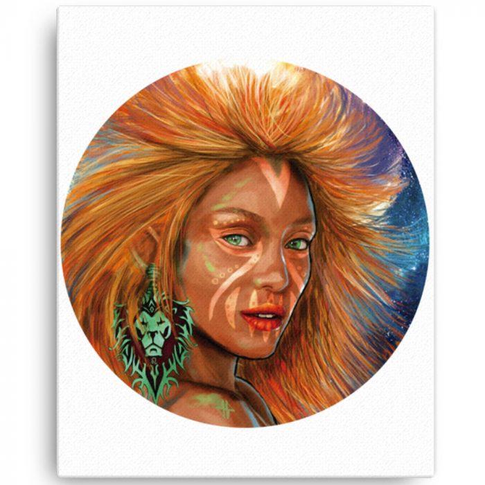 Reproducción de arte en lienzo 41x51 cm - El Poder de Leo - Diseño Digital - Zodiaco - Ilustración -pintado por Adrian Pagador