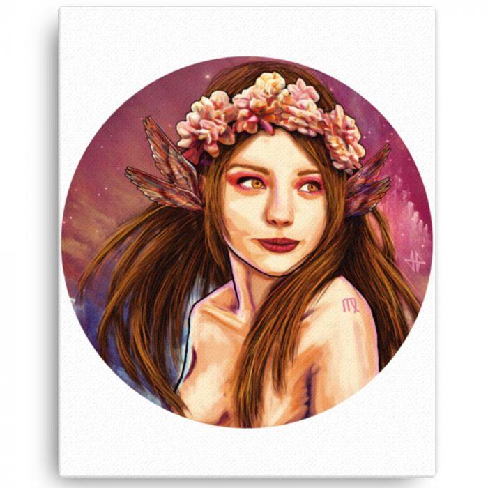 Reproducción de arte en lienzo 41x51 cm - La Pureza de Virgo - Diseño Digital - Zodiaco - Ilustración -pintado por Adrian Pagador