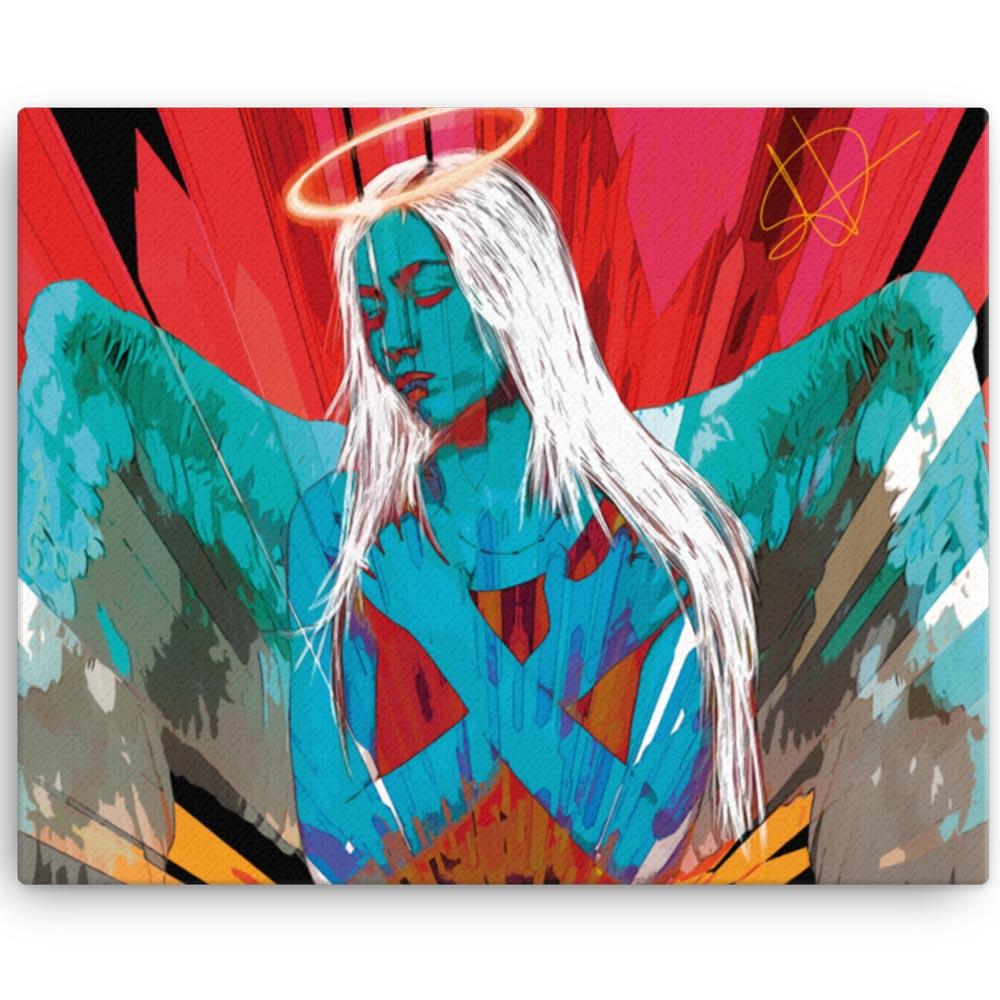 Reproducción de arte en lienzo 41x51 cm - Angel Awakening - Diseño Digital - Ilustración - Fotografía y Pintura -pintado por WachiMakeArt