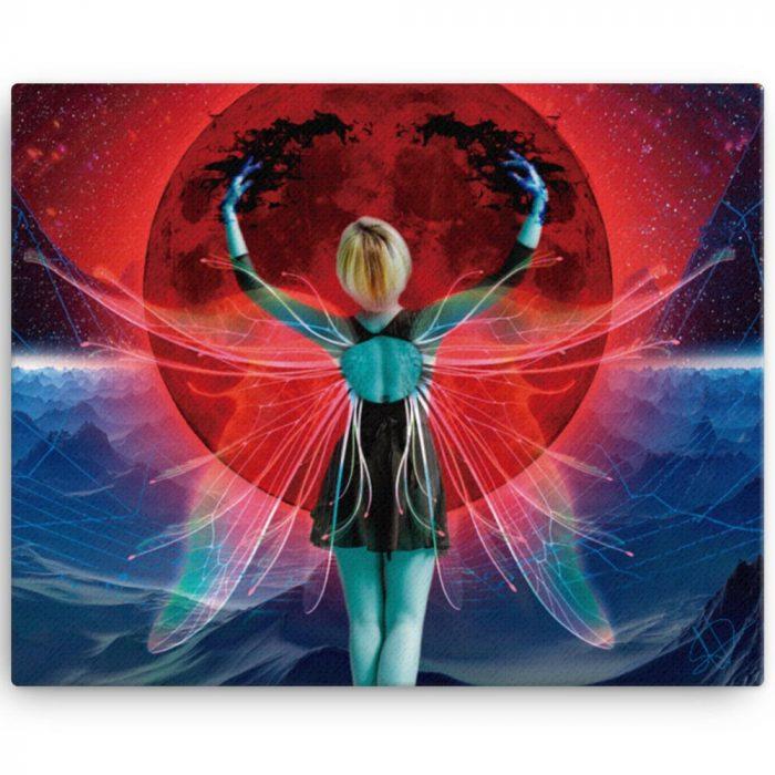 Reproducción de arte en lienzo 41x51 cm - Retro RedMoon - Diseño Digital - Ilustración - Fotografía y Pintura -pintado por WachiMakeArt