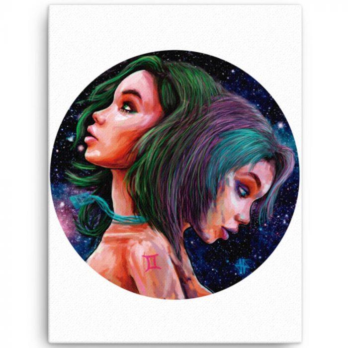 Reproducción de arte en lienzo 46x61 cm - Géminis - Diseño Digital - Zodiaco - Ilustración -pintado por Adrian Pagador