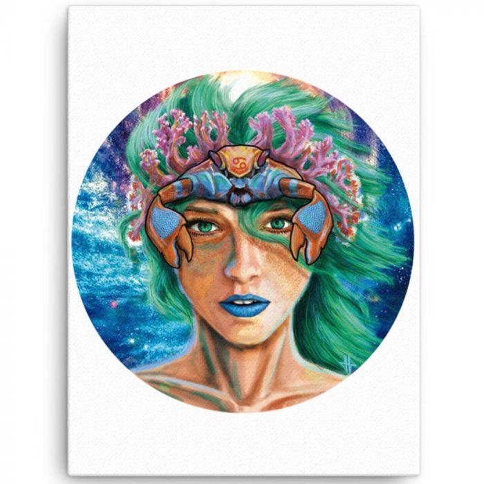Reproducción de arte en lienzo 46x61 cm - La Fortaleza de Cancer - Diseño Digital - Zodiaco - Ilustración -pintado por Adrian Pagador
